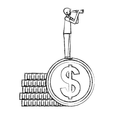 businessman standing pile coins with telescope vector illustration hand drawing