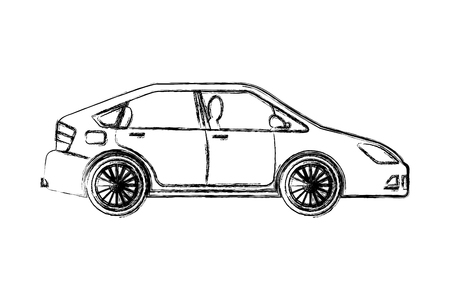 car vehicle sedan automobile transport vector illustration hand drawing