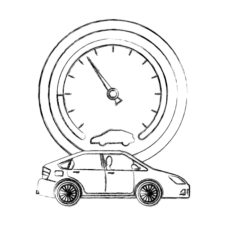 car transport and speedometer industry vector illustration hand drawing