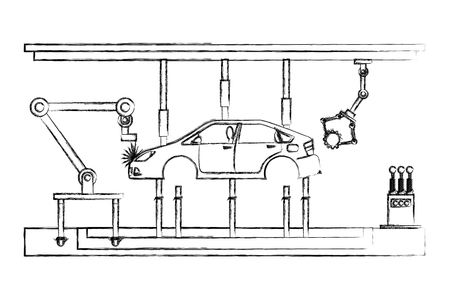 automatic production line for industrial automobile production vector illustration hand drawing