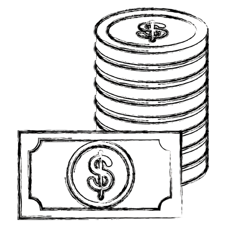 coins money with bills vector illustration design