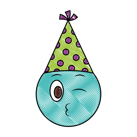 birthday emoji smiley winking party hat vector illustration