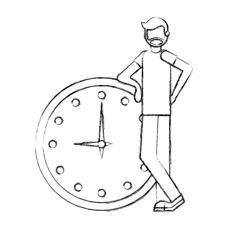 beard man with big clock time business vector illustration hand drawing Illustration