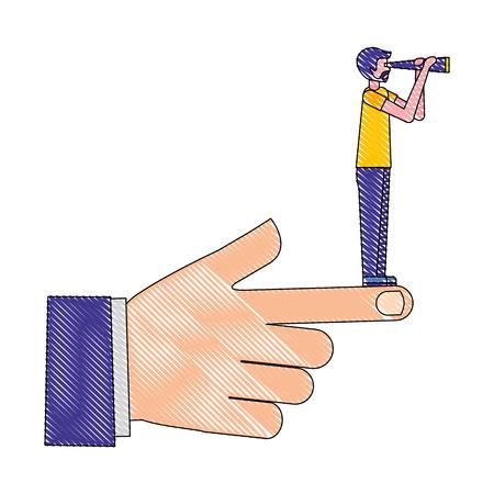 hombre de negocios, con, telescopio, en, mano, vector, ilustración