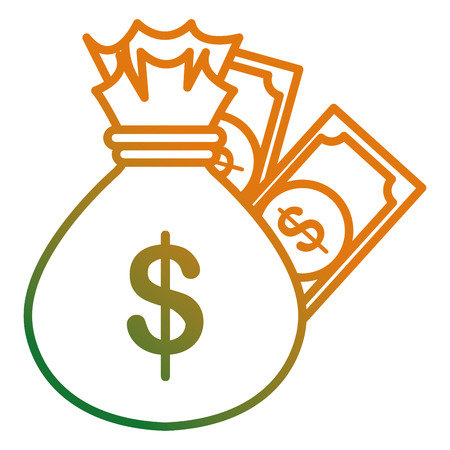 money bag with bills dollars vector illustration design 写真素材 - 112070556