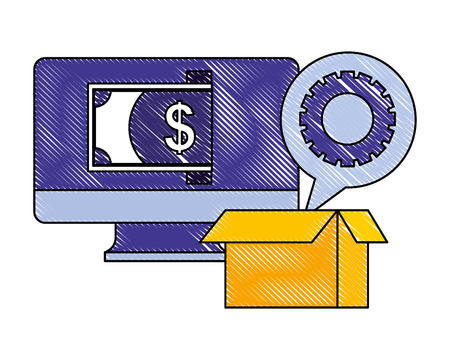 computer money cardboard box gear work vector illustration