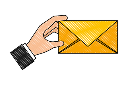 hand holding envelope message mail vector illustration