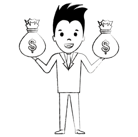 businessman with money bags vector illustration design