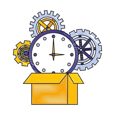 cardboard box clock gears team work vector illustration