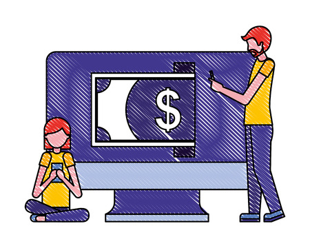 man and woman business computer banknote payment vector illustration Illustration