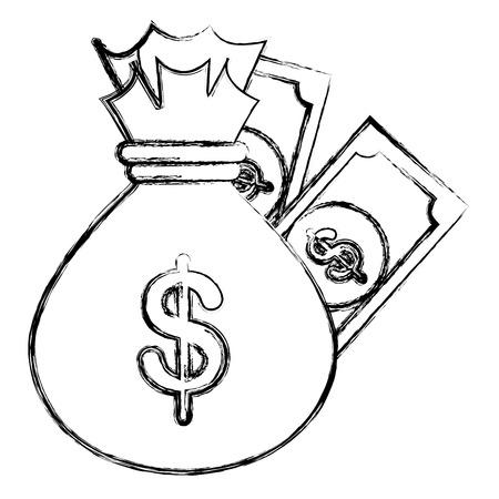 money bag with bills dollars vector illustration design Illustration