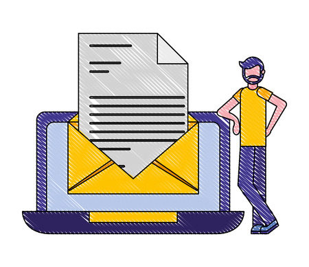 beard man laptop and email message business vector illustration