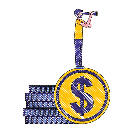 businessman standing pile coins with telescope vector illustration Illustration