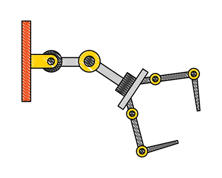 robotic arm mechanical industrial manipulator technology vector illustration