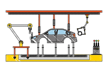 automatic production line for industrial automobile production vector illustration  イラスト・ベクター素材