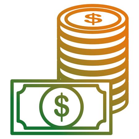 coins money with bills vector illustration design