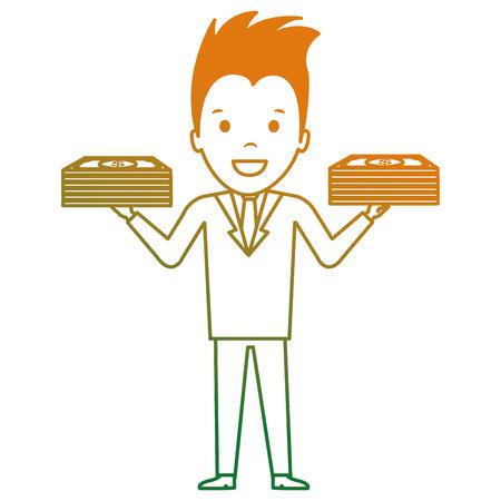 businessman with bills dollars vector illustration design