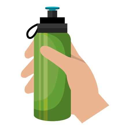 hand with bottle gym sport vector illustration design