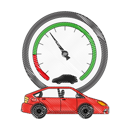 car transport and speedometer industry vector illustration