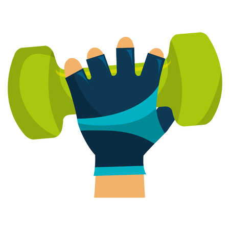 hand lifting dumbell gym accessory vector illustration design