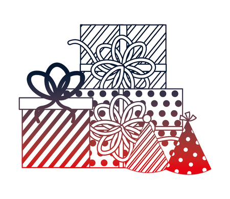gift boxes present with hats party icon vector illustration design