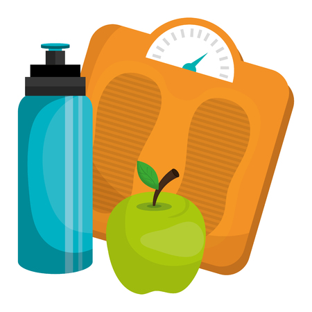 bottle gym with balance and apple vector illustration design