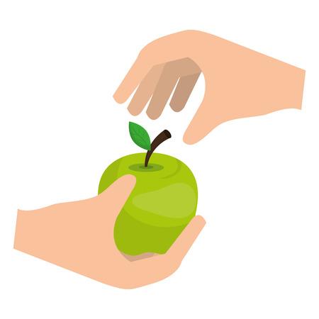 hand with apple fresh fruit vector illustration design Illusztráció