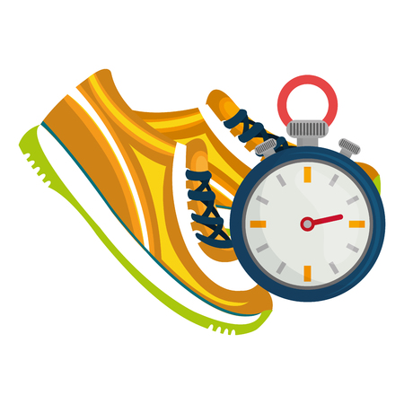 timer chronometer with tennis shoes vector illustration design Stock Vector - 112070717