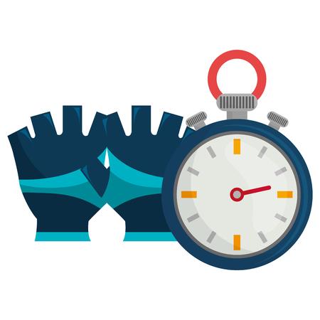 timer chronometer with gloves sport vector illustration design Archivio Fotografico - 112070738