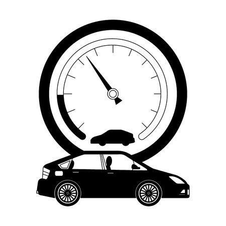 Indicatore di velocità con auto isolato icona illustrazione vettoriale design