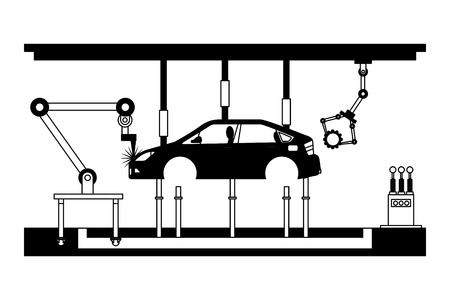 car assembling machine icon vector illustration design