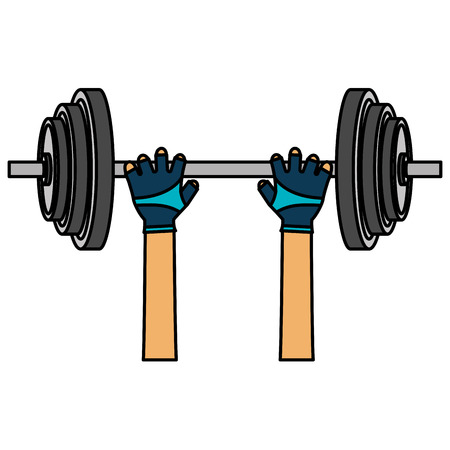 hands lifting dumbell gym accessory vector illustration design