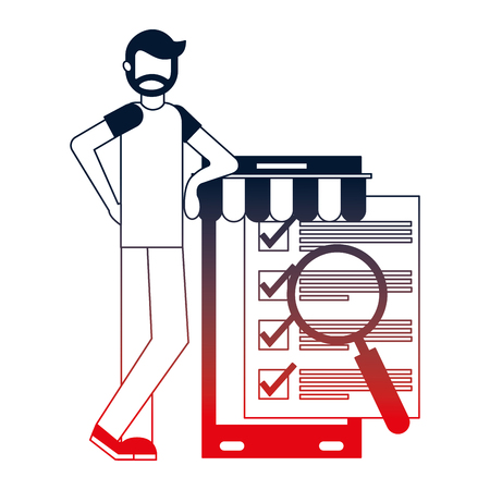 man with smartphone and objects vector illustration design Illustration