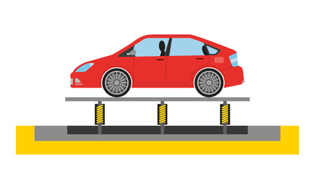 new car on conveyor of the factory vector illustration Illustration