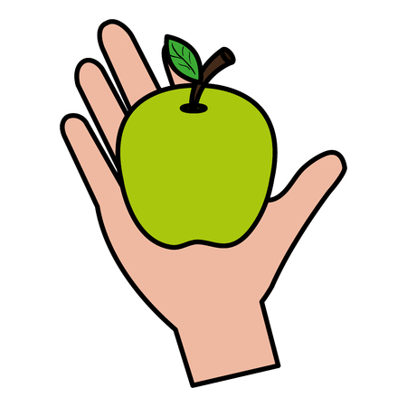 hand with apple fresh fruit vector illustration design 向量圖像