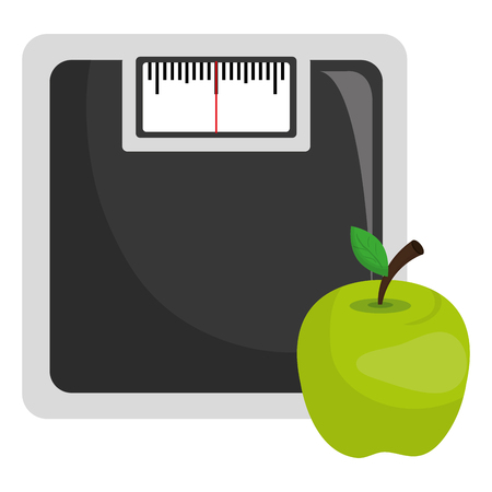 scale balance gym with apple vector illustration design