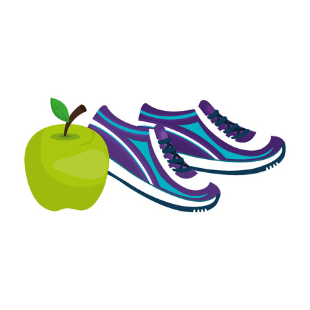apple fresh fruit with tennis shoes vector illustration design 일러스트