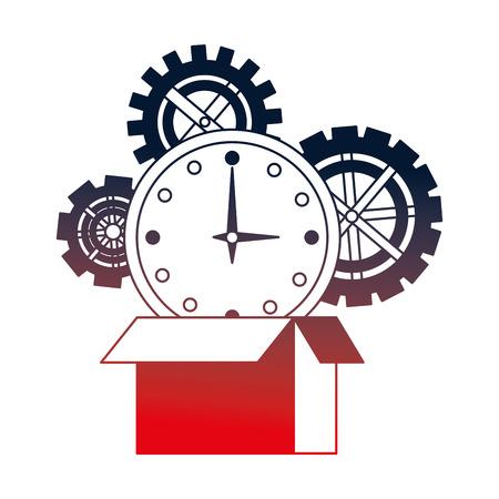 set gears machine with box carton and watch time vector illustration design Foto de archivo - 112070782