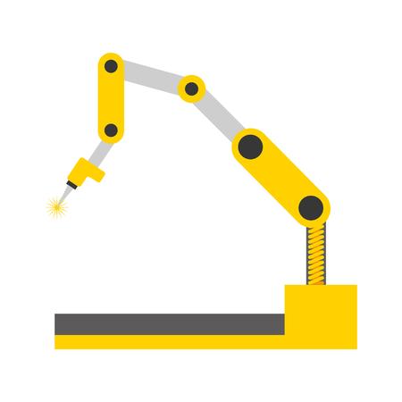 Bras robotique manipulateur industriel mécanique technologie vector illustration Vecteurs