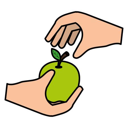 hand with apple fresh fruit vector illustration design 向量圖像
