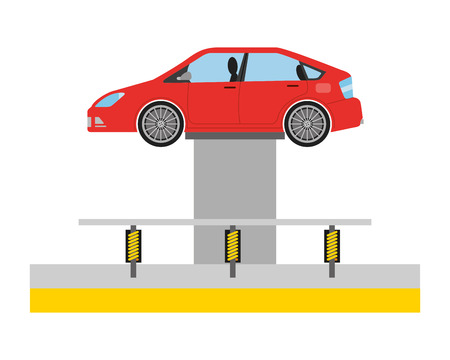 car at hydraulic lifting platform inspection and maintenance vector illustration Stock Vector - 112070793