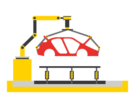 body of car on the assembly line the conveyor at the factory vector illustration Illustration