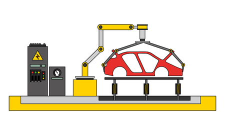 body of car on the assembly line the conveyor at the factory vector illustration 向量圖像