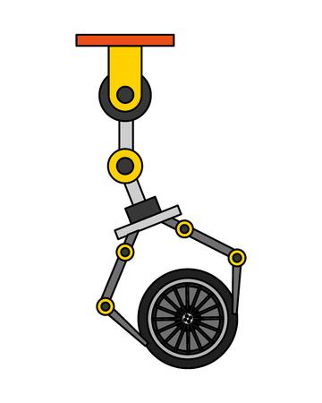 robot arm for automotive engineering with car wheel vector illustration Ilustração