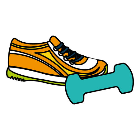 dumbell gym accessory with tennis vector illustration design