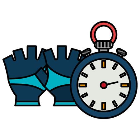 timer chronometer with gloves sport vector illustration design