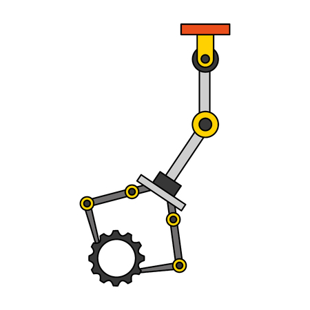 robotic arm holding gear mechanic technology vector illustration