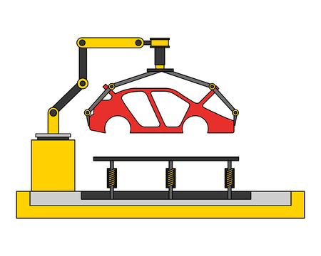 body of car on the assembly line the conveyor at the factory vector illustration  イラスト・ベクター素材