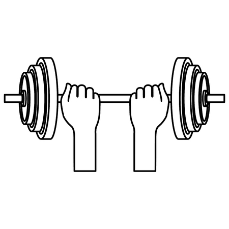 hands lifting dumbell gym accessory vector illustration design Illustration