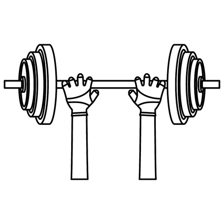 hands lifting dumbell gym accessory vector illustration design Çizim